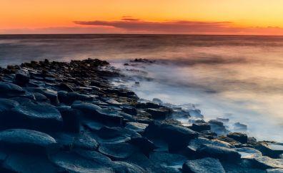 Ireland, sea, beach, skyline, rocks, sunset, mist