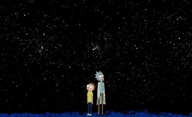 Rick and morty, minimal, tv series, starry night