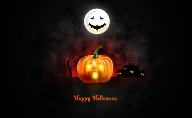 Halloween, dark, moon, pumpkin