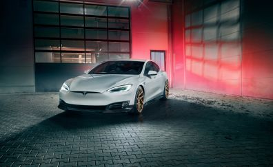 2017 NOVITEC - Tesla Model S, luxury car, front, 4k