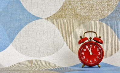 Red alarm clock, clock