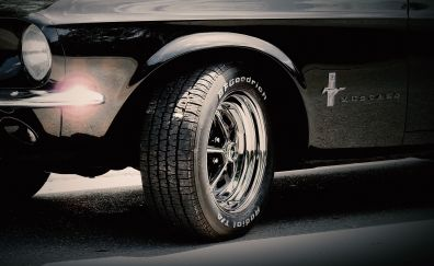 Ford Mustang car, wheel, retro