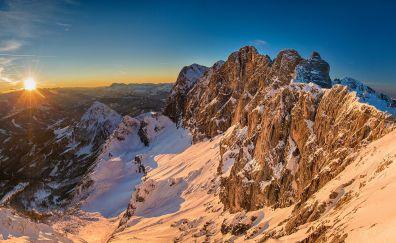 Dachstein, mountains, sunlight