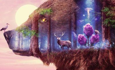 Mystical, fantasy, forest, wildlife, art