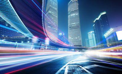 Cityscape, buildings, lights