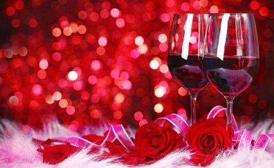 Red wine, roses, bokeh
