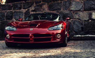 Dodge Viper, red sports car, front view