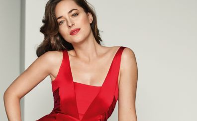 Dakota johnson, red clothing, celebrity, vogue, 2017