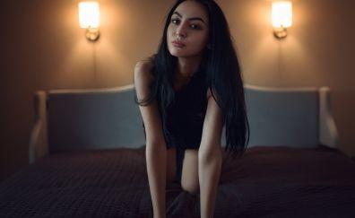 Kneeling on bed, girl model, bed