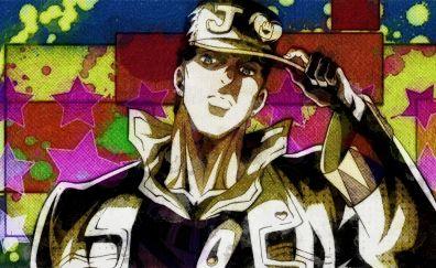 Jotaro Kujo, JoJo's Bizarre, anime boy, cap
