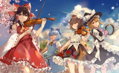 Violin, play, anime girls, touhou