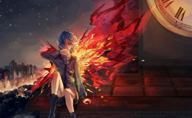Anime, Touka Kirishima, Tokyo Ghoul, wings of fire