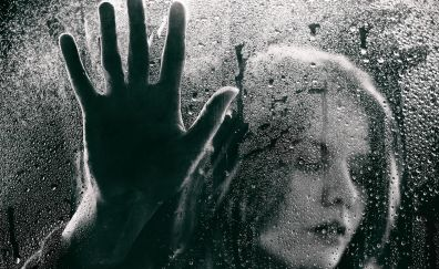 Mirror, hand, water drops, surface, girl's face