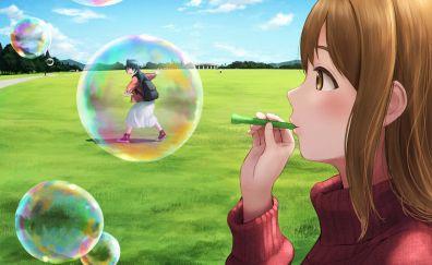 Hanamaru kunikida, yoshiko tsushima, anime girls, outdoor