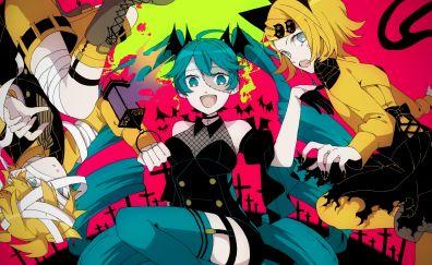 Hatsune miku, Kagamine Rin/Len, halloween party, anime girls