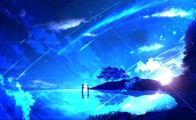 Couple, anime girl, night, Kimi no Na wa.