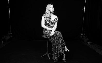 Amy Adams, sit, monochrome