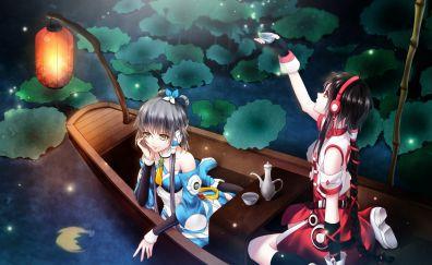 Luo tianyi, anime girls, yuezheng ling, lake, boat, night, outdoor