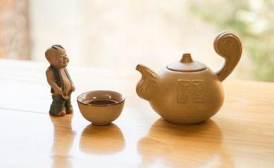 Tea, teapot, statue