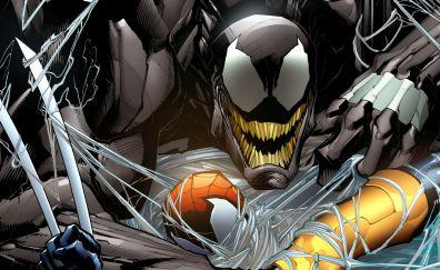 Venom, villain, spider man, marvel comics, artwork, 4k