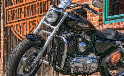 Motorcycle, black, Harley-Davidson