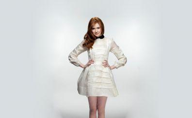 Beautiful, karen gillan, white dress, 4k