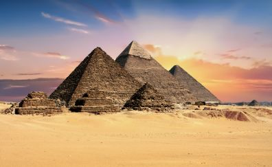 Giza Pyramids, architecture, desert