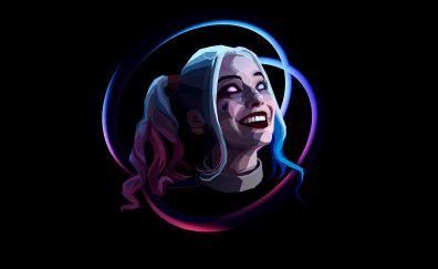 Harley quinn, villain, smile, face, abstract, art