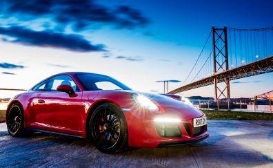 2017 Porsche 911 Carrera GTS coupe, red car, 4k