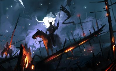 Battle ground, soldier, dark, night, art, 4k
