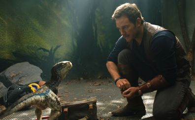 Chris pratt, little raptor, Jurassic world: fallen kingdom, 2018 movie, 5k