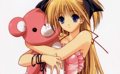 Cute blonde, anime girl, teddy bear