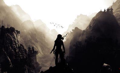 Lara croft, tomb raider, video game, mountains, valley