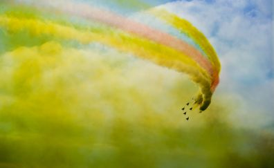 Aircraft, airplane, airshow, colorful clouds