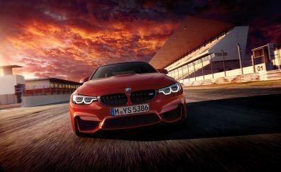 Luxury car, red cars, BMW M4, road