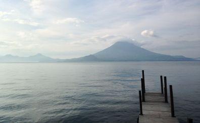 Lake Atitlán, lake, mountains, clouds, dock