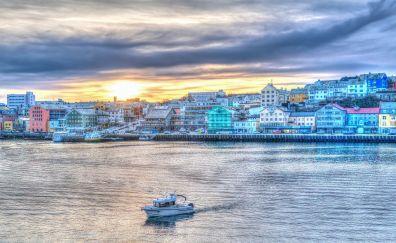 Norway coast, sunset, boat, city