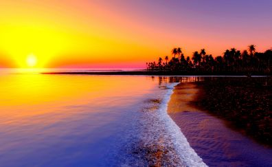 sunset at beach of tropical sea