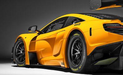 Mclaren 650S GT3, yellow sports car, side view