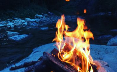 Winter fire, flame, river