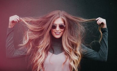 Blonde, sunglasses, happy, model