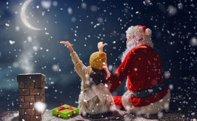 Winter, christmas, santa claus and kid