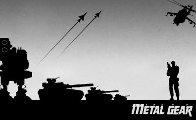 Metal gear solid video game, solider, monochrome