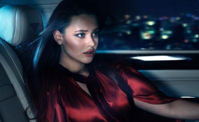 Katherine Langford, red dress, inside car
