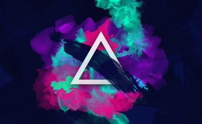 Triangle, abstract, color splashes