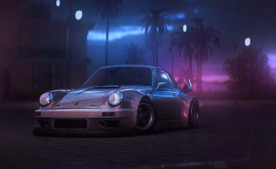 Sports car, rain, night, Porsche 911