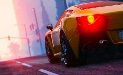 Sports car, headlight, Grand theft auto V, game
