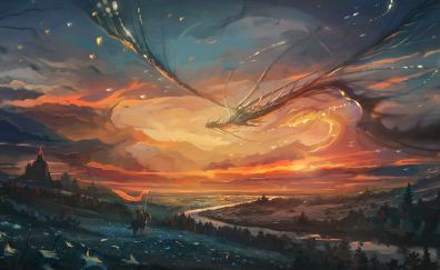 Warrior, dragon, flight, sunset, art
