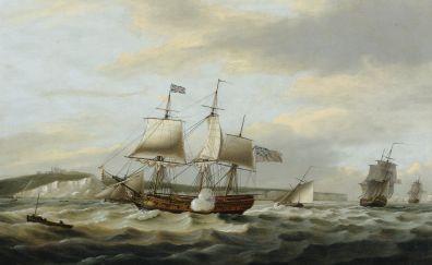 Sailing ships, river, art, 4k