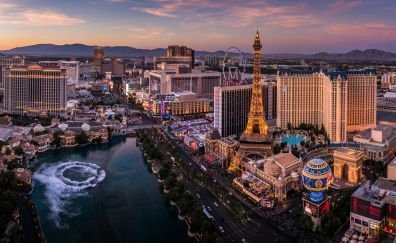 Las Vegas, city, sunset, aerial view, hotels, Casinos